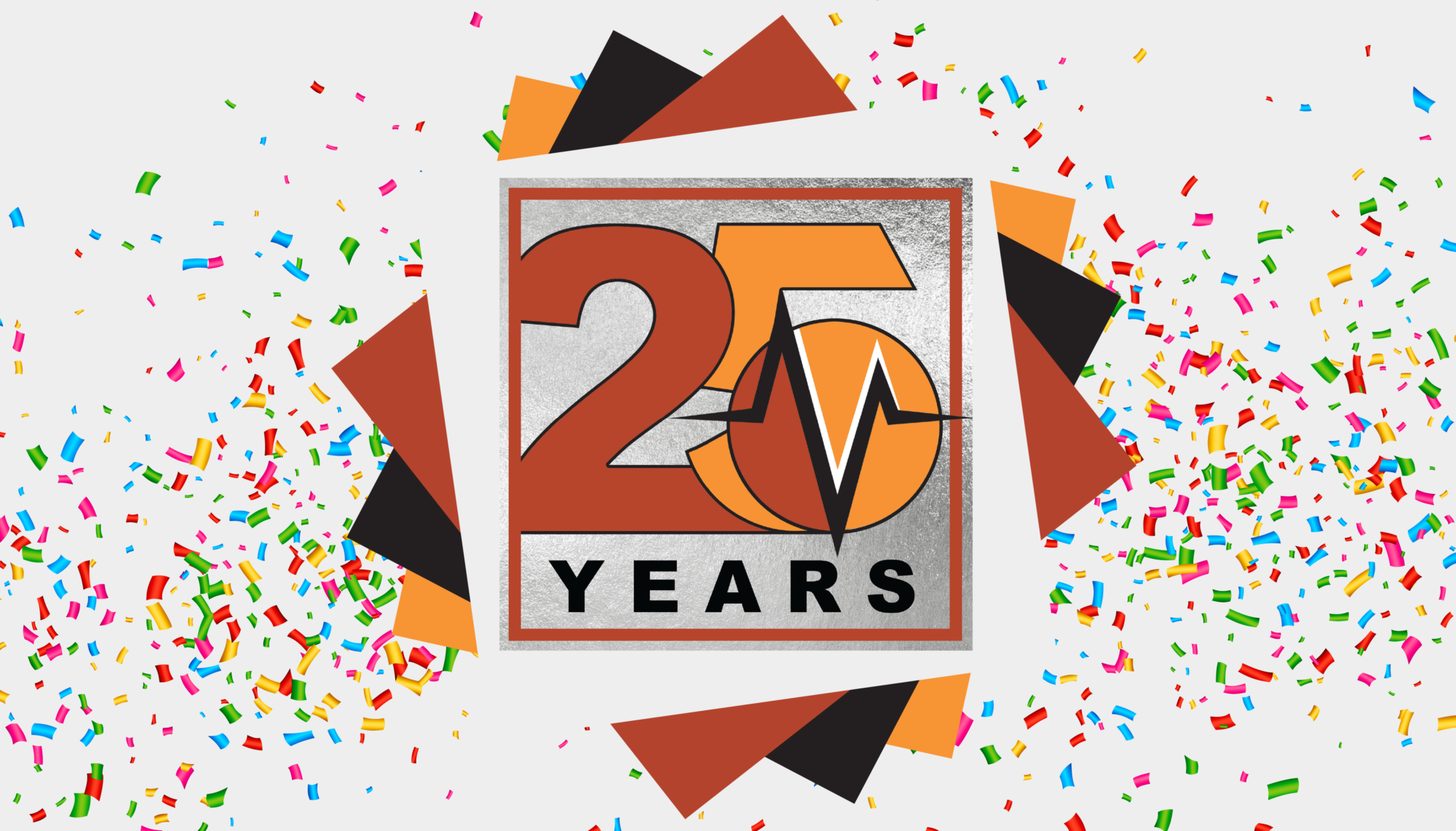 Vanguard 25th anniversary in healthcare marketing confetti banner | Vanguard Communications | Denver, CO