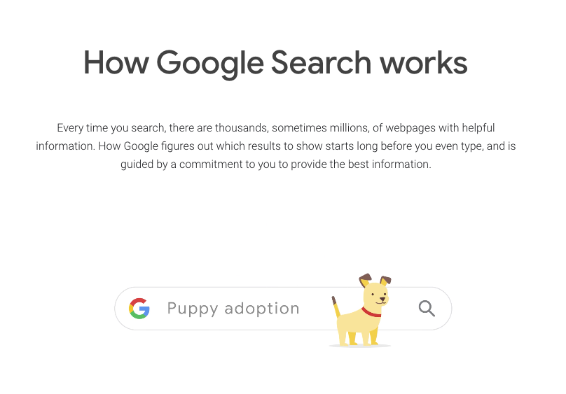 Overview of How Google Search works using puppy adoption as example to illustrate blog about SEO development | Vanguard Communications | Denver, CO