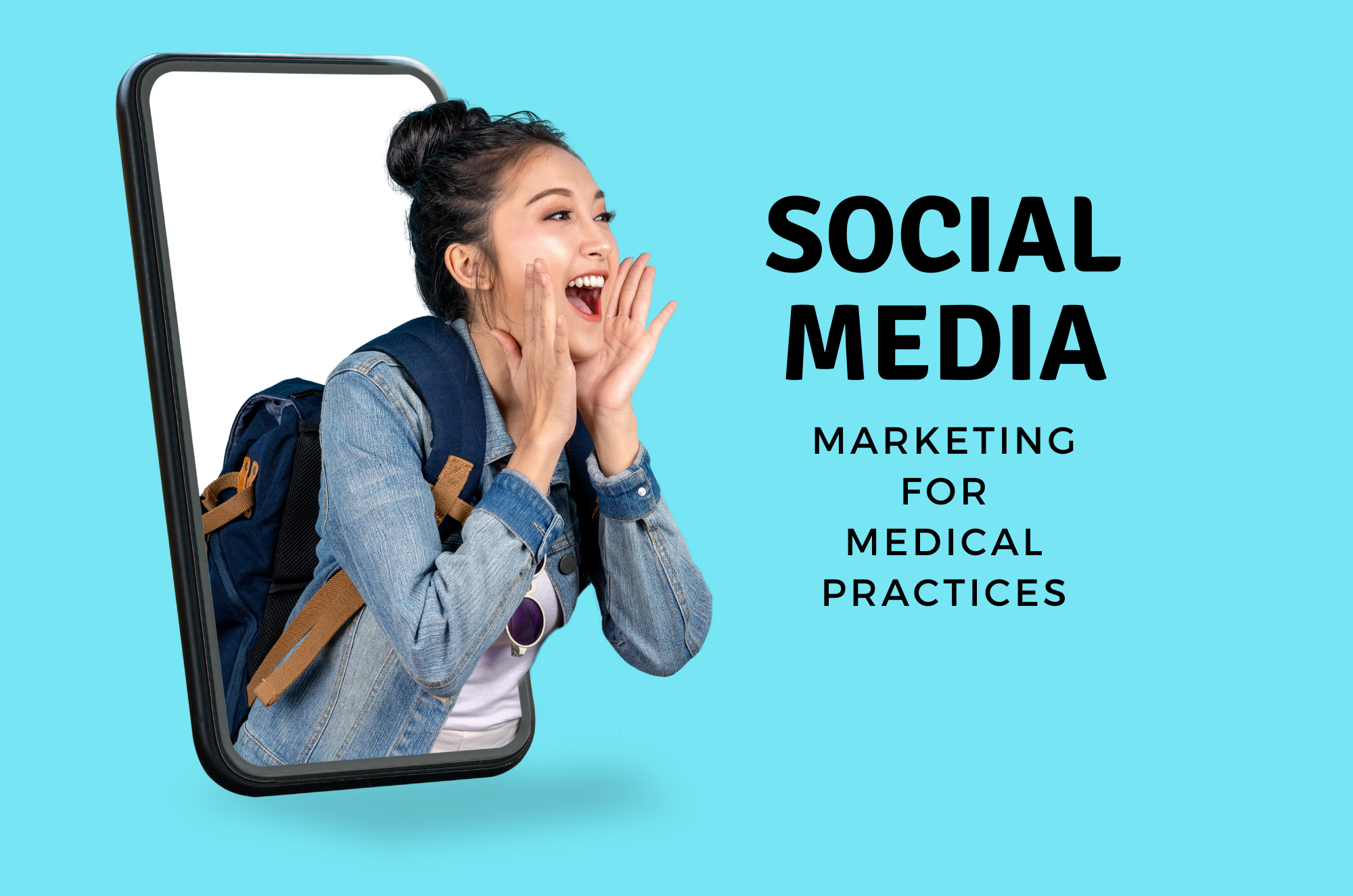 """Young woman emerging from a smartphone screen yelling, """"social media marketing"""" in text   Vanguard Communications   Denver, CO   San Jose, CA   Jacksonville, FL"""
