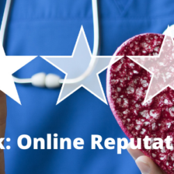 Man in scrubs selecting star rating while holding heart prop | Vanguard Communications | Denver, CO