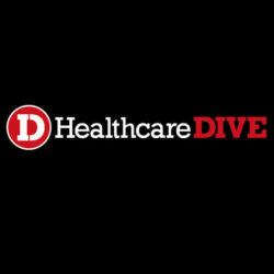 Logo of Healthcare Dive, which published an article mentioning Vanguard Communications' online review study