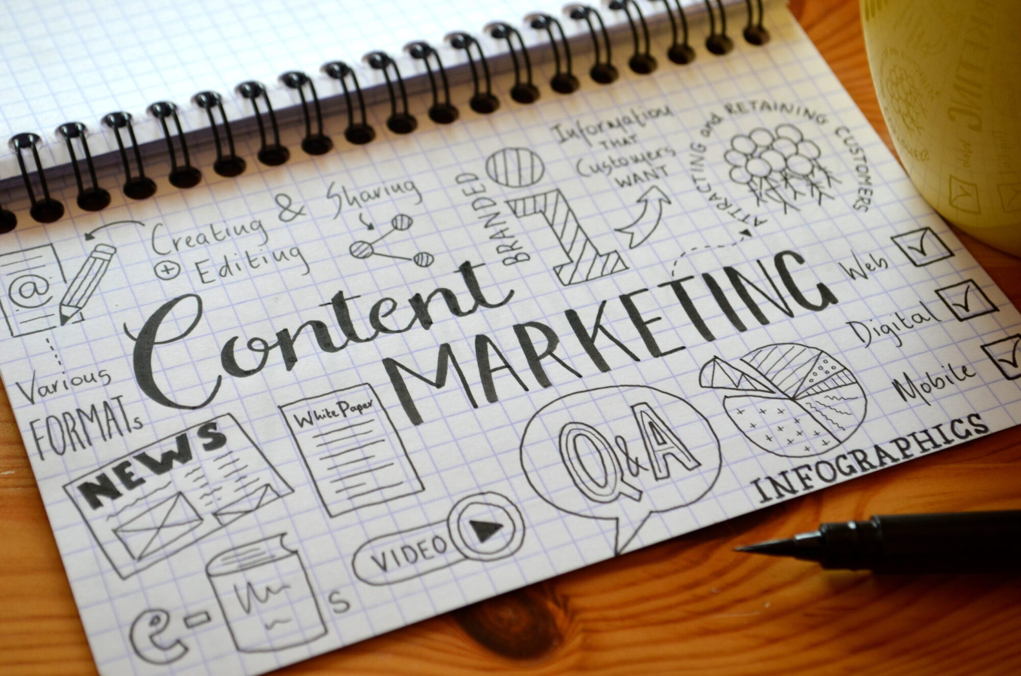 Note pad with content marketing written on it | Vanguard Communications | Denver, CO
