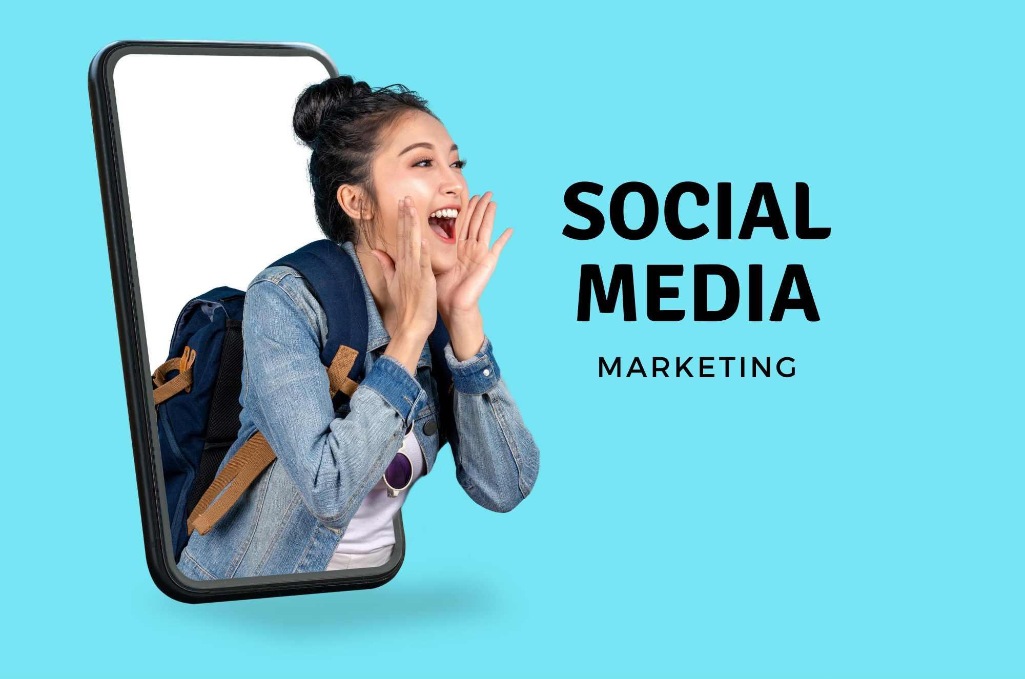 "Young woman emerging from a smartphone screen yelling, ""social media marketing"" in text 