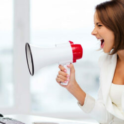 Physician Blog | Vanguard Communications | Woman with megaphone